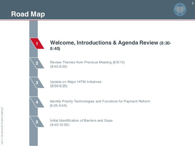 ©2013THEADVISORYBOARDCOMPANY Road Map 2 3 4 5 1 2 Review Themes from Previous Meeting (6/5/13) (8:40-8:50) Update on Major...