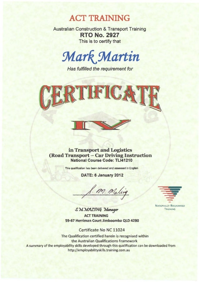 Certificate Iv In Transport And Logistics Car Driving Instruction
