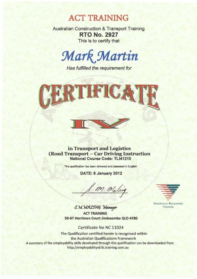 Certificate Iv In Transport Logistics Road Transport Car Driving Instruction