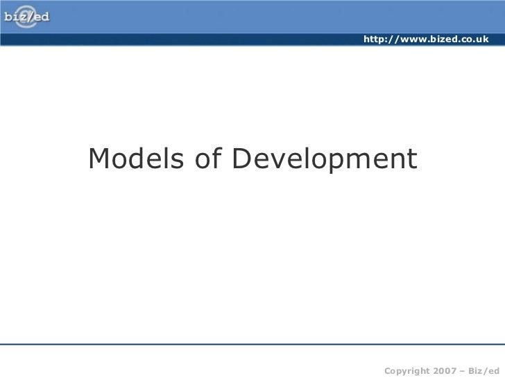 Models of Development<br />