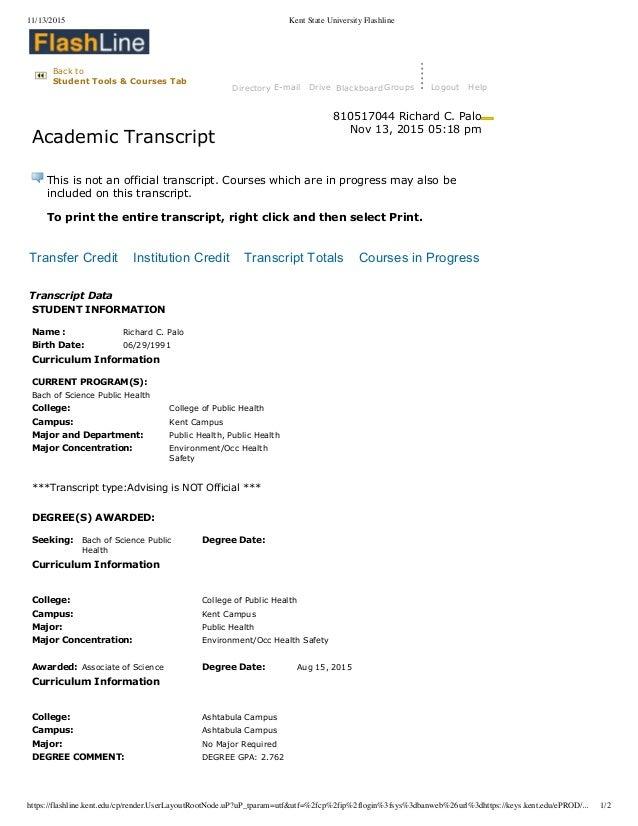 Kent State University Flashline Transcripts