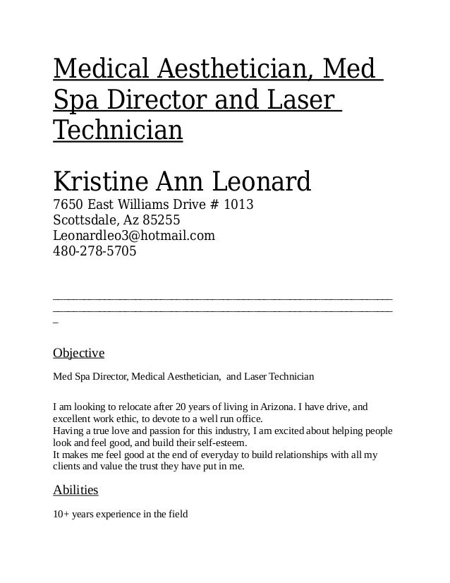 Med Spa Resume A Good Resume Example