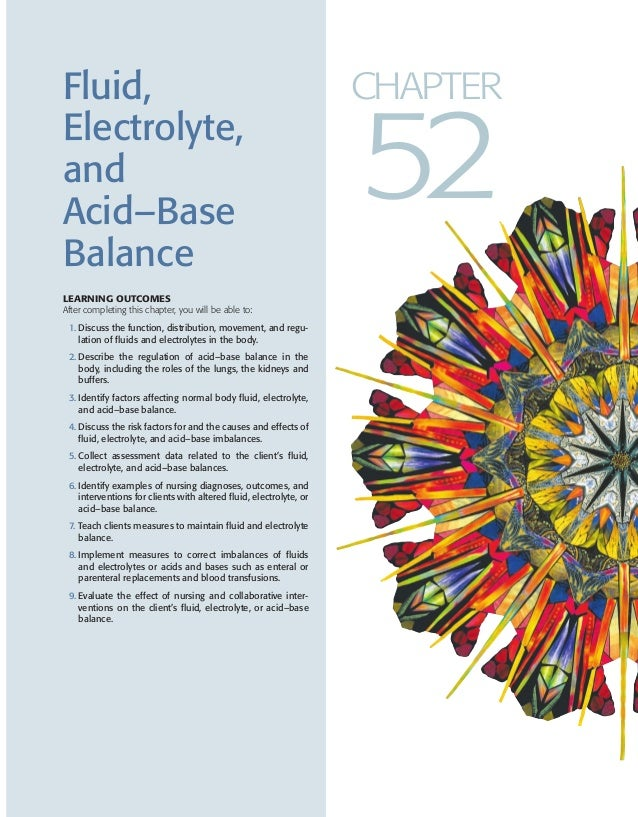 Fluid, Electrolyte, and Acid–Base Balance LEARNING OUTCOMES After completing this chapter, you will be able to: 1. Discuss...