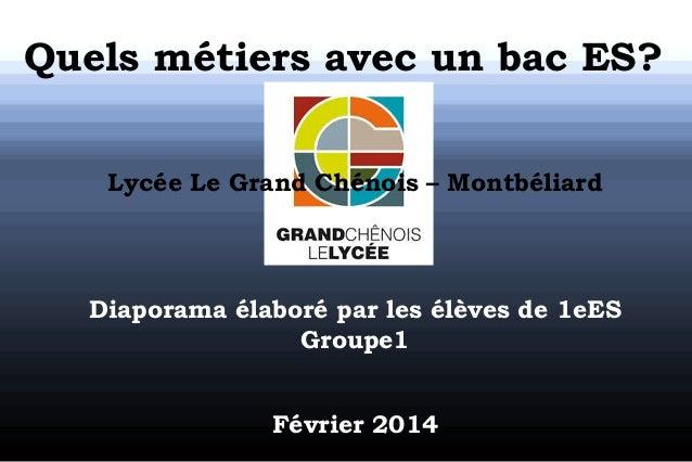 Quels métiers avec un bac ES? Lycée Le Grand Chénois – Montbéliard  Diaporama élaboré par les élèves de 1eES Groupe1 Févri...