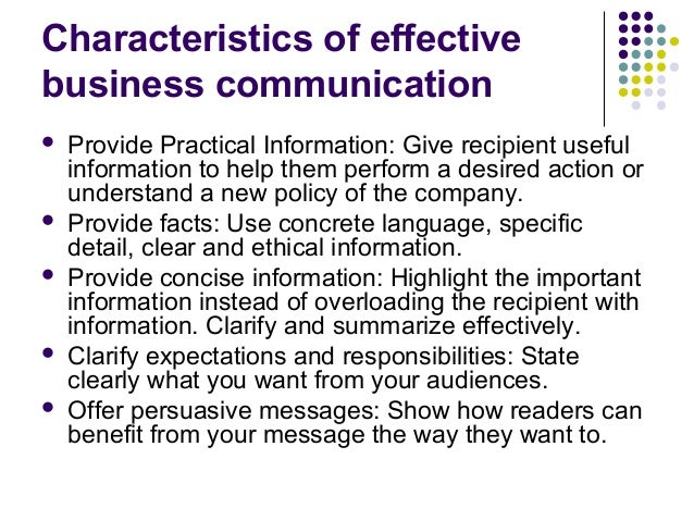 Characteristic of business communication