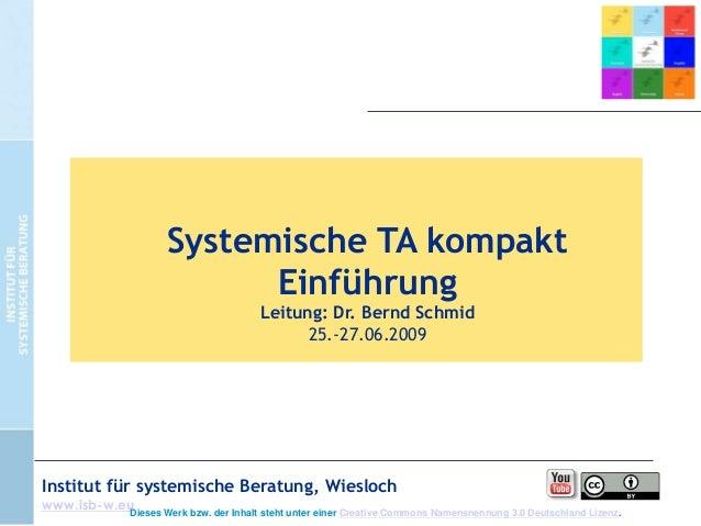 Systemische TA kompakt Einführung Leitung: Dr. Bernd Schmid 25.-27.06.2009  Institut für systemische Beratung, Wiesloch ww...