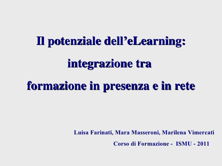 Il potenziale dell' eLearning: integrazione tra  formazione in presenza e in rete   Luisa Farinati, Mara Masseroni, Marile...