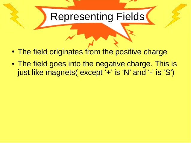 Representing Fields ● The field originates from the positive charge ● The field goes into the negative charge. This is jus...