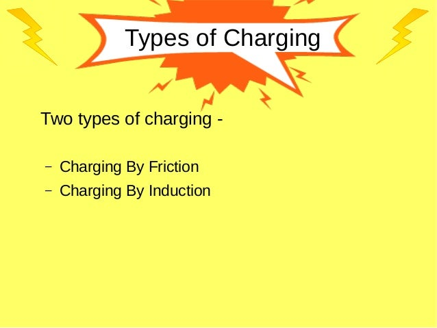 Types of Charging Two types of charging - – Charging By Friction – Charging By Induction