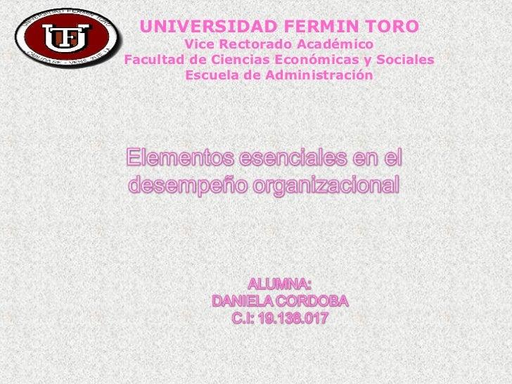 UNIVERSIDAD FERMIN TORO        Vice Rectorado AcadémicoFacultad de Ciencias Económicas y Sociales        Escuela de Admini...