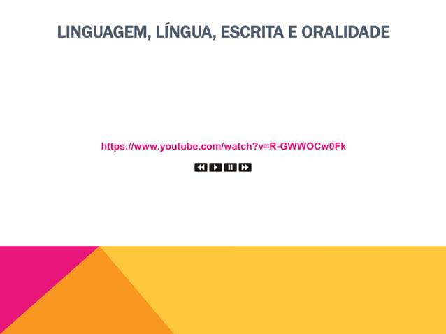 LINGUAGEM, LÍNGUA, ESCRITA E ORALIDADE Oralidade  A oralidade é a língua na forma de som.