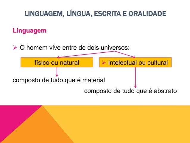 LINGUAGEM, LÍNGUA, ESCRITA E ORALIDADE Linguagem  Cultura é…  o universo das ideias, da inteligência e da criação.  o s...