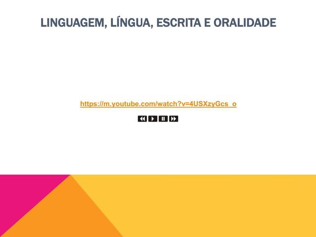 LINGUAGEM, LÍNGUA, ESCRITA E ORALIDADE Linguagem  Linguagem unidade básica: palavra unidade básica: aquelas que excluem a...
