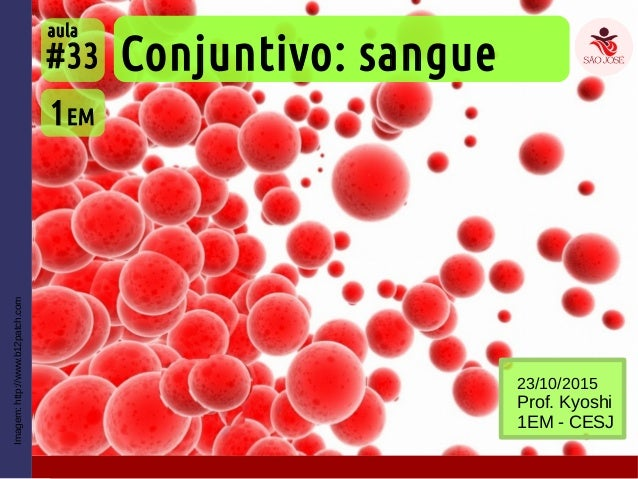 Imagem:http://www.b12patch.com Conjuntivo: sangue 1EM #33 aula 23/10/2015 Prof. Kyoshi 1EM - CESJ