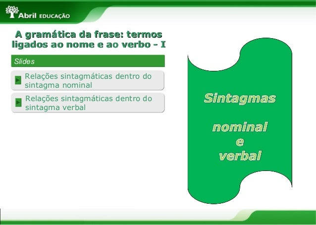 A gramática da frase: termosA gramática da frase: termosligados ao nome e ao verbo - Iligados ao nome e ao verbo - ISlides...