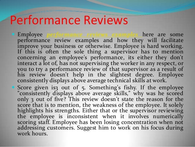 Writing a good review for employee
