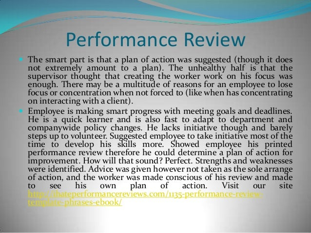 Employee performance review evaluation good examples