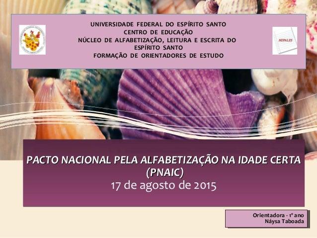 UNIVERSIDADE FEDERAL DO ESPÍRITO SANTO CENTRO DE EDUCAÇÃO NÚCLEO DE ALFABETIZAÇÃO, LEITURA E ESCRITA DO ESPÍRITO SANTO FOR...