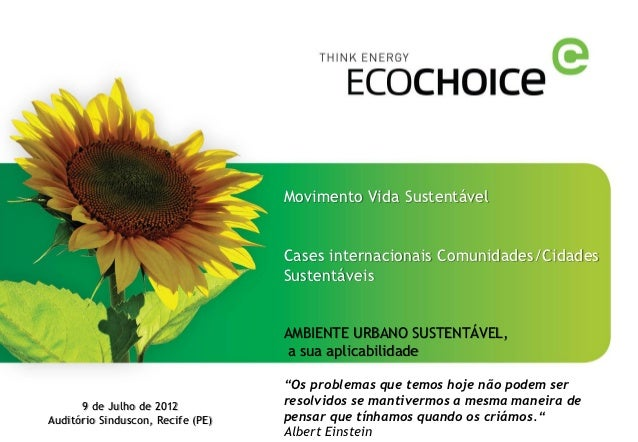 Movimento Vida Sustentável                                   Cases internacionais Comunidades/Cidades                     ...