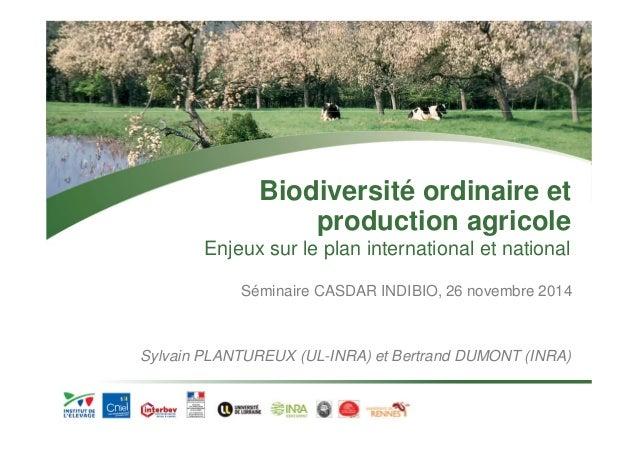 Biodiversité ordinaire et  production agricole  Enjeux sur le plan international et national  Séminaire CASDAR INDIBIO, 26...