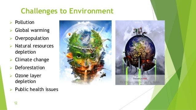 Challenges to Environment  Pollution  Global warming  Overpopulation  Natural resources depletion  Climate change  D...