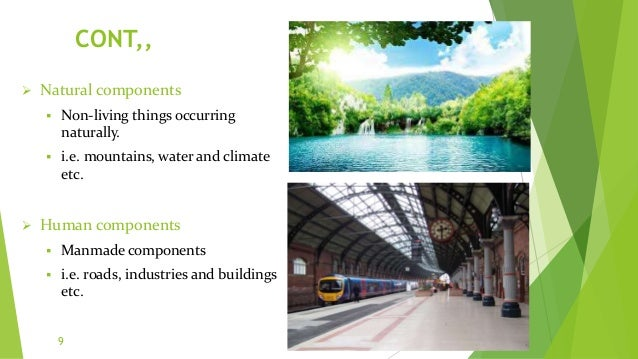 CONT,,  Natural components  Non-living things occurring naturally.  i.e. mountains, water and climate etc.  Human comp...
