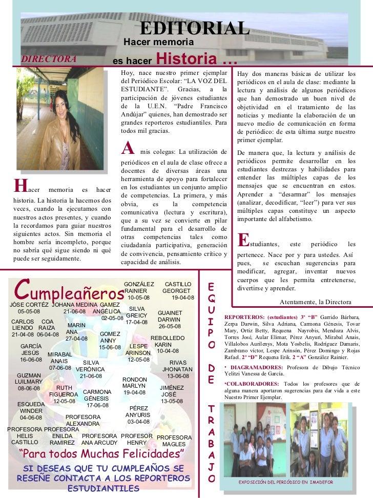 1 er peri dico escolar for Ejemplo de una editorial de un periodico mural