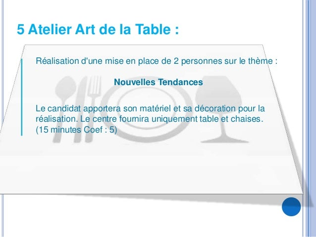 5 Atelier Art de la Table :   Réalisation dune mise en place de 2 personnes sur le thème :                       Nouvelles...