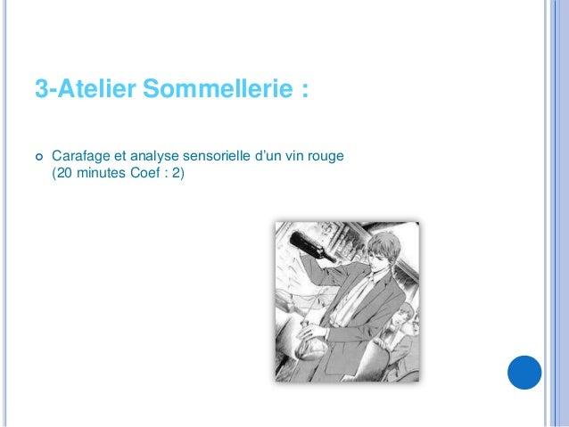 3-Atelier Sommellerie :   Carafage et analyse sensorielle d'un vin rouge    (20 minutes Coef : 2)