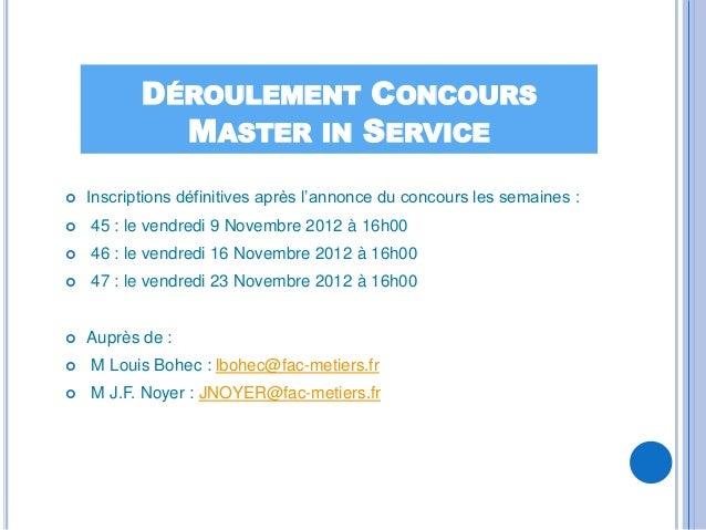 DÉROULEMENT CONCOURS             MASTER IN SERVICE   Inscriptions définitives après l'annonce du concours les semaines :...