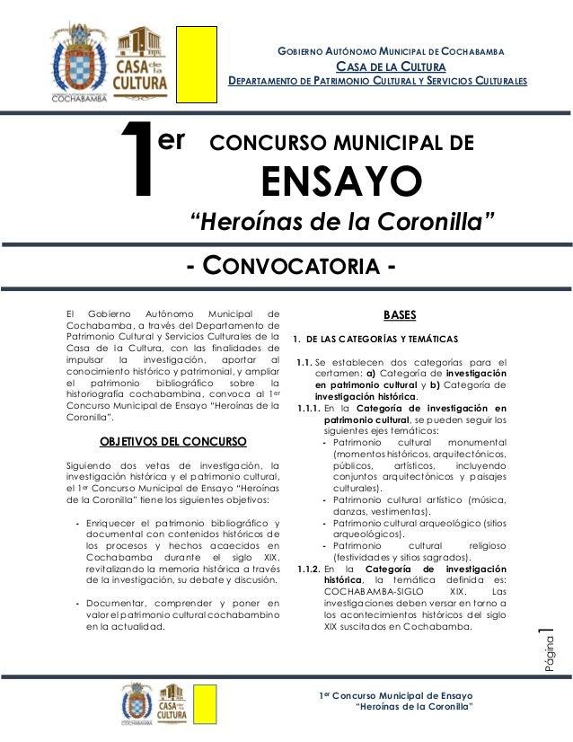 """1er Concurso Municipal de Ensayo """"Heroínas de la Coronilla"""" Página1 CONCURSO MUNICIPAL DE ENSAYO """"Heroínas de la Coronilla..."""
