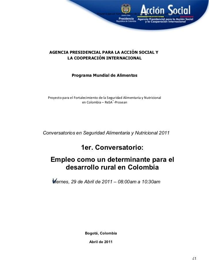 Proyecto para el Fortalecimiento de la Seguridad Alimentaria y Nutricional                                                ...