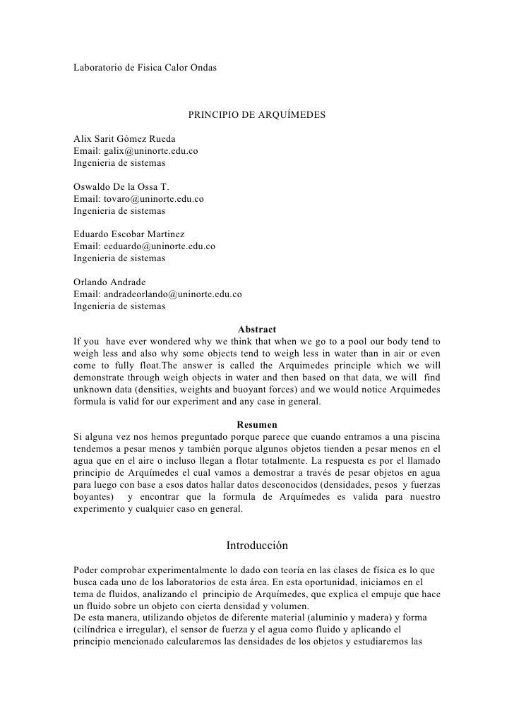 Laboratorio de Fisica Calor Ondas                               PRINCIPIO DE ARQUÍMEDES  Alix Sarit Gómez Rueda Email: gal...