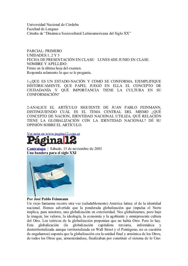 "Universidad Nacional de CórdobaFacultad de LenguasCátedra de ""Dinámica Sociocultural Latinoamericana del Siglo XX""PARCIAL:..."