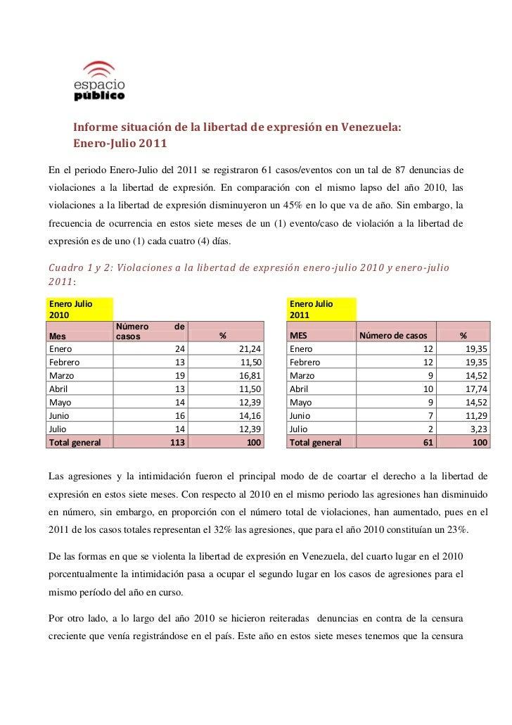 Informe situación de la libertad de expresión en Venezuela:      Enero-Julio 2011En el periodo Enero-Julio del 2011 se reg...