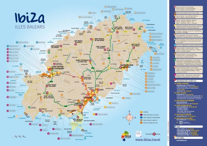 Map Of Ibiza Map of Ibiza + Beaches. From Official Turism Site of Ibiza: http://ww… Map Of Ibiza