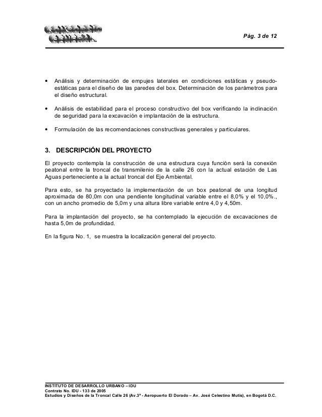 Pág. 3 de 12 • Análisis y determinación de empujes laterales en condiciones estáticas y pseudo- estáticas para el diseño d...