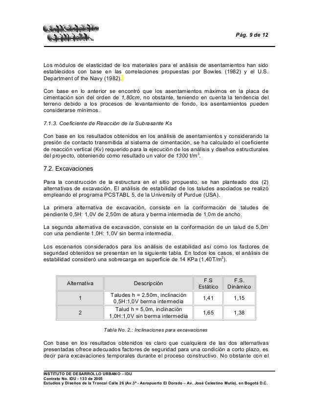 Pág. 9 de 12 Los módulos de elasticidad de los materiales para el análisis de asentamientos han sido establecidos con base...