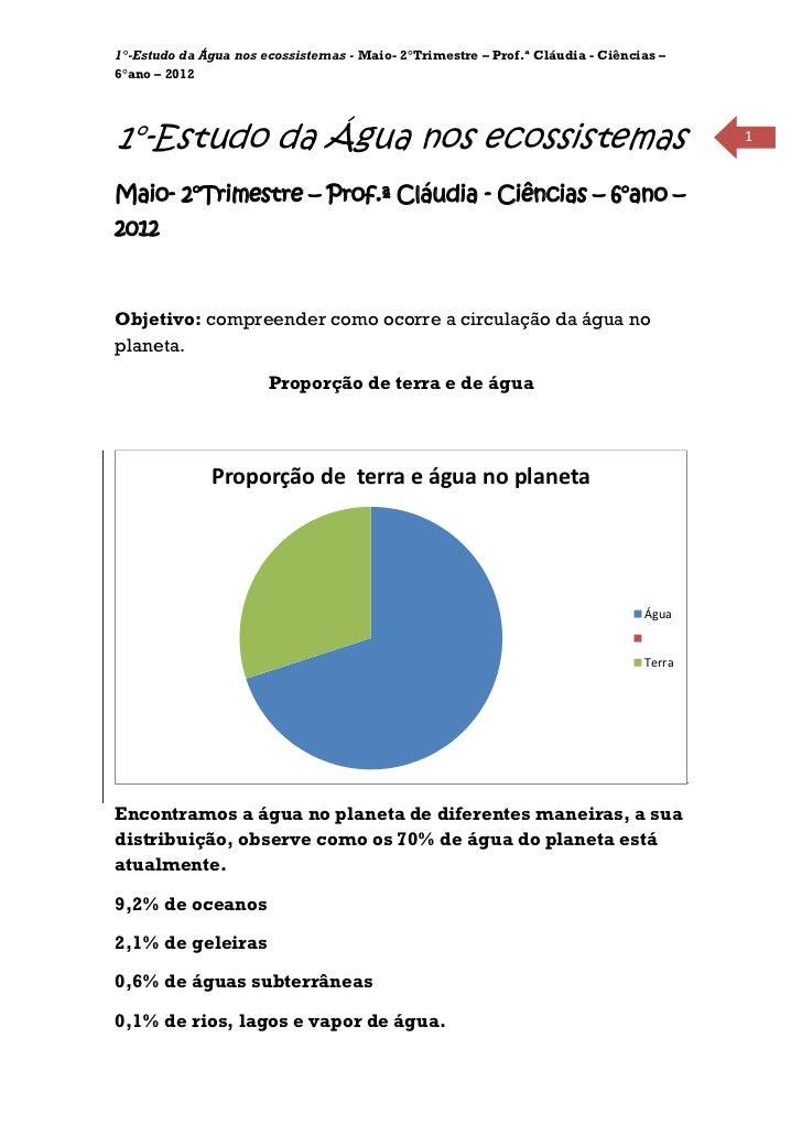 1°-Estudo da Água nos ecossistemas - Maio- 2°Trimestre – Prof.ª Cláudia - Ciências –6°ano – 20121°-Estudo da Água nos ecos...