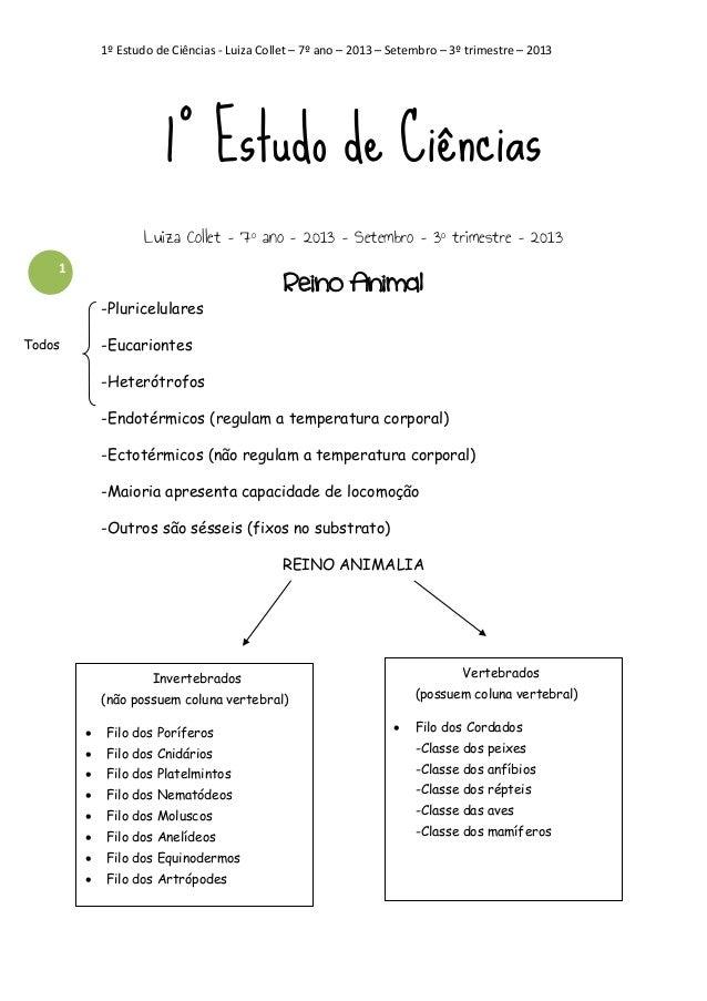 1º Estudo de Ciências - Luiza Collet – 7º ano – 2013 – Setembro – 3º trimestre – 2013  1º Estudo de Ciências Luiza Collet ...