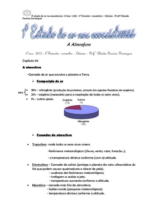 1           1º estudo do ar nos ecossistemas –6°ano– 2012 - 3°Trimestre –novembro – Ciências - Prof.ª Cláudia  Ferreira Do...