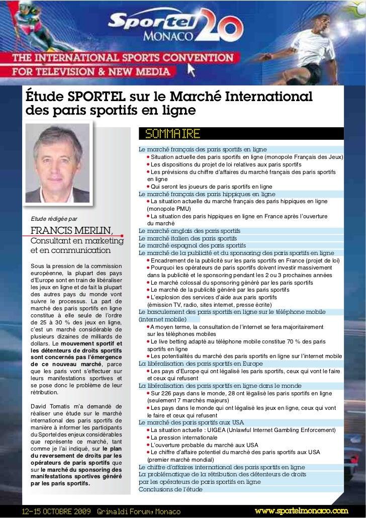 Étude SPORTEL sur le Marché Internationaldes paris sportifs en ligne                                          Le marché fr...