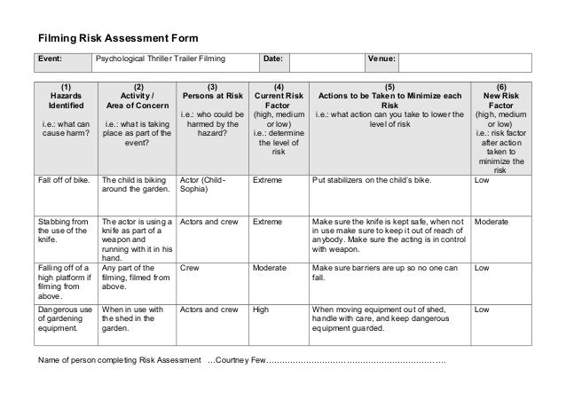 1 Events Filming Risk Assessment Form 1