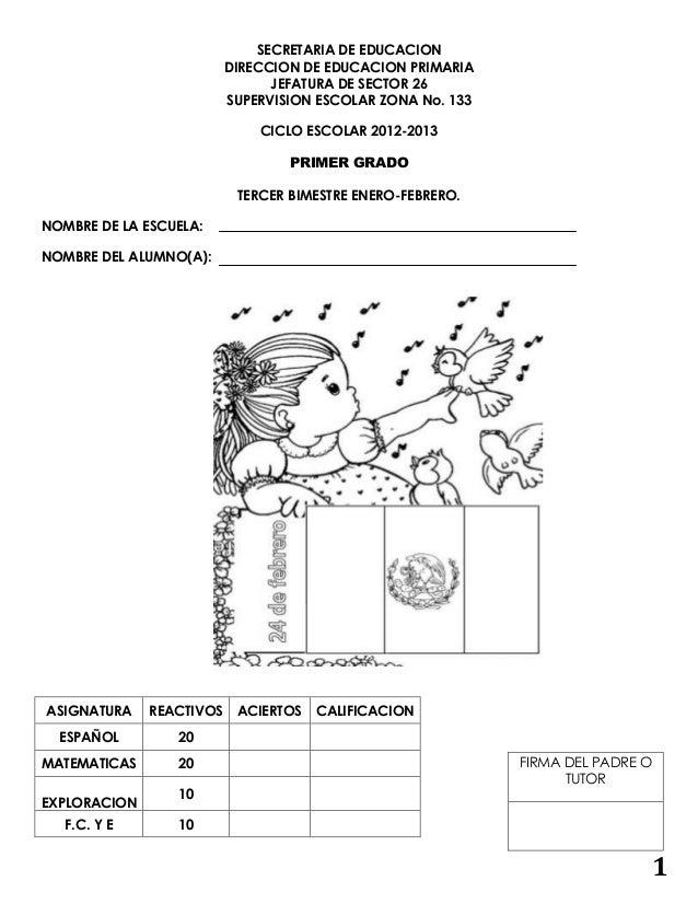 examen DE primer año de primaria Bimestre 3 enero febrero 2012-2013