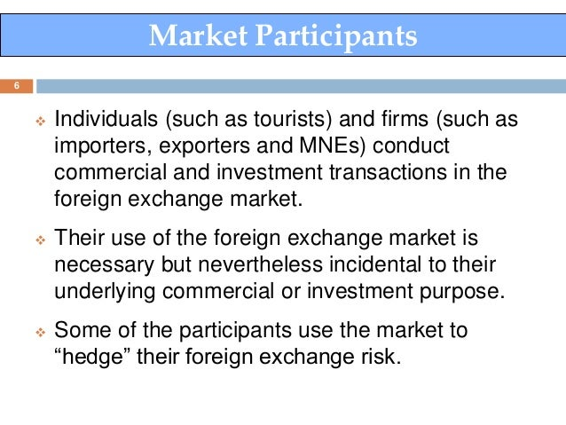 Participants in the foreign exchange market
