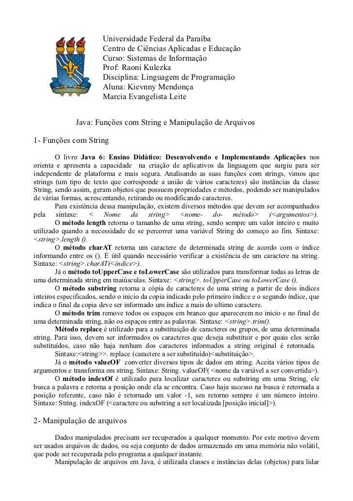 Universidade Federal da Paraíba                        Centro de Ciências Aplicadas e Educação                        Curs...