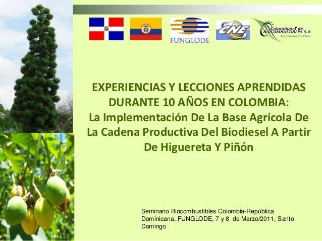 EXPERIENCIAS Y LECCIONES APRENDIDAS    DURANTE 10 AÑOS EN COLOMBIA:La Implementación De La Base Agrícola DeLa Cadena Produ...