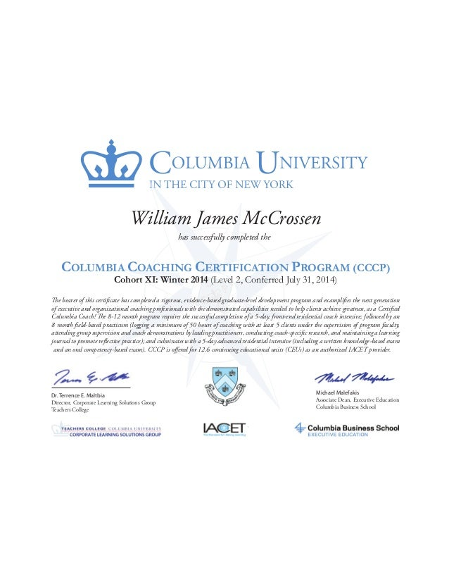 Columbia University Coaching Certificatewmccrossen