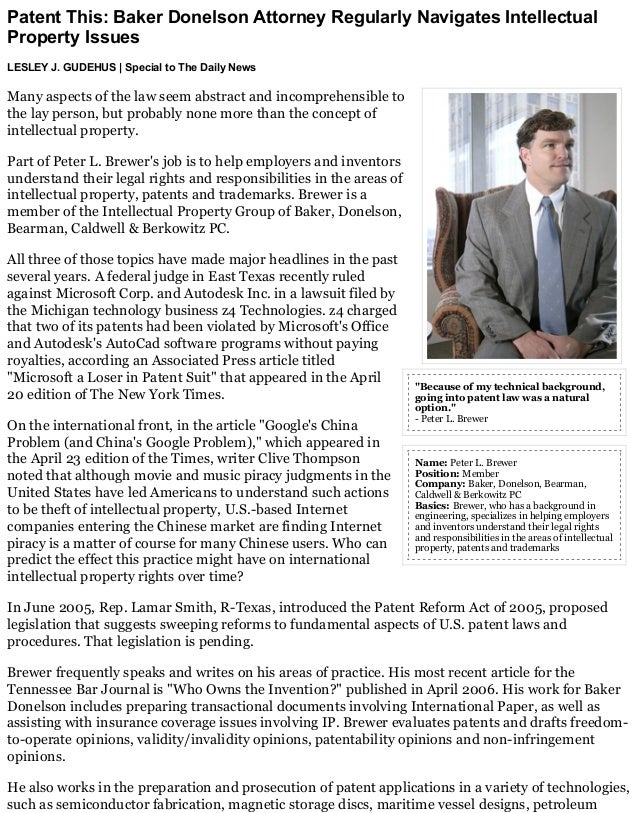 Patent This Baker Donelson Attorney Regularly Navigates Intellectual