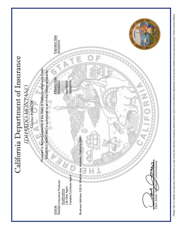 CA Department of Insurance - License